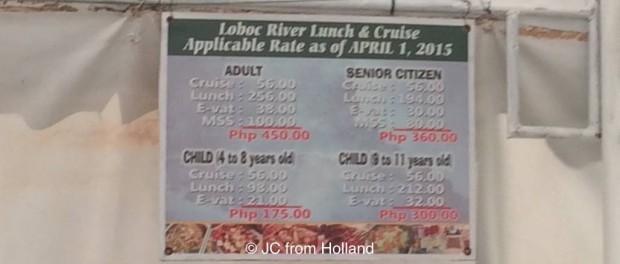 Loboc River Cruise Prices
